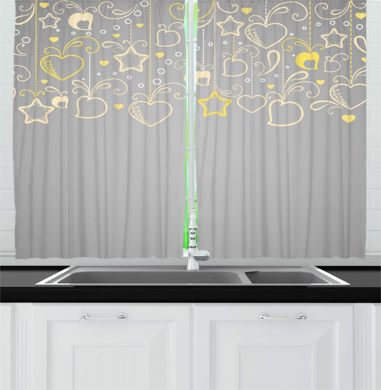 "grey and yellow kitchen curtains 2 panel set window drapes 55"" x 39"" | ebay"