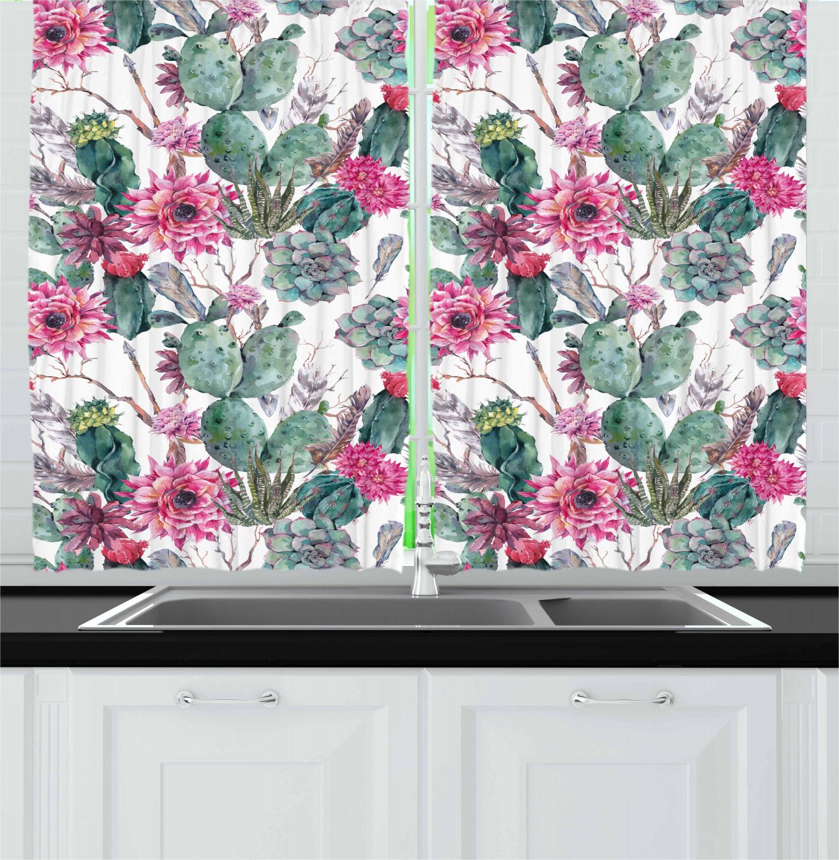 Mexican Cactus Kitchen Curtains 2 Panel Set Window Drapes