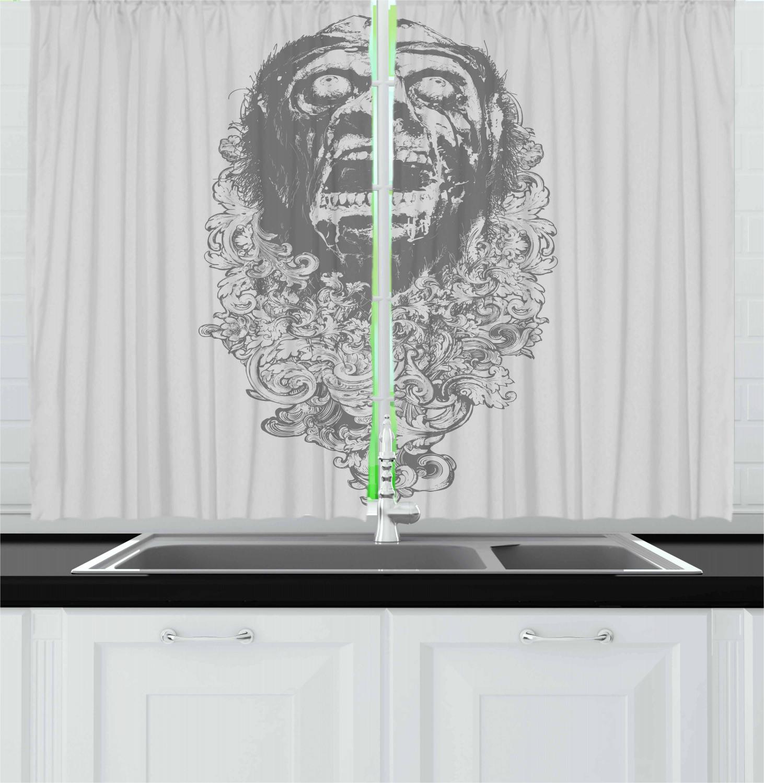 Zombie-Kitchen-Curtains-2-Panel-Set-Window-Drapes-55-034-X-39-034-Ambesonne miniature 13