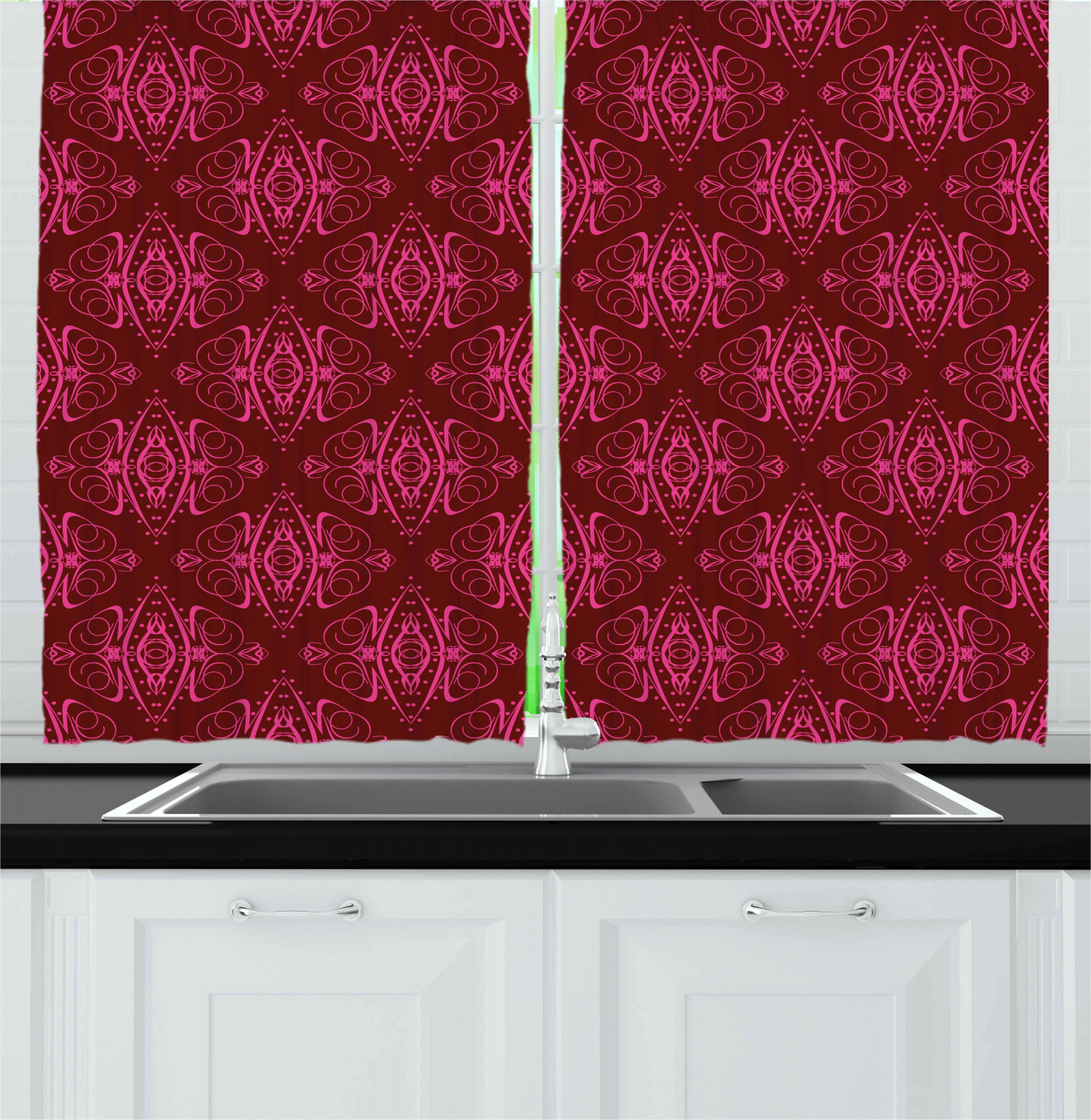"Hot Pink Kitchen Curtains 2 Panel Set Window Drapes 55"" X"