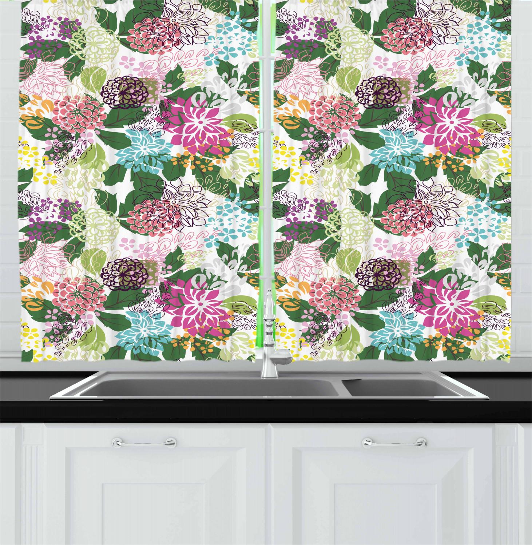 "Botanical Kitchen Curtains 2 Panel Set Window Drapes 55"" X"