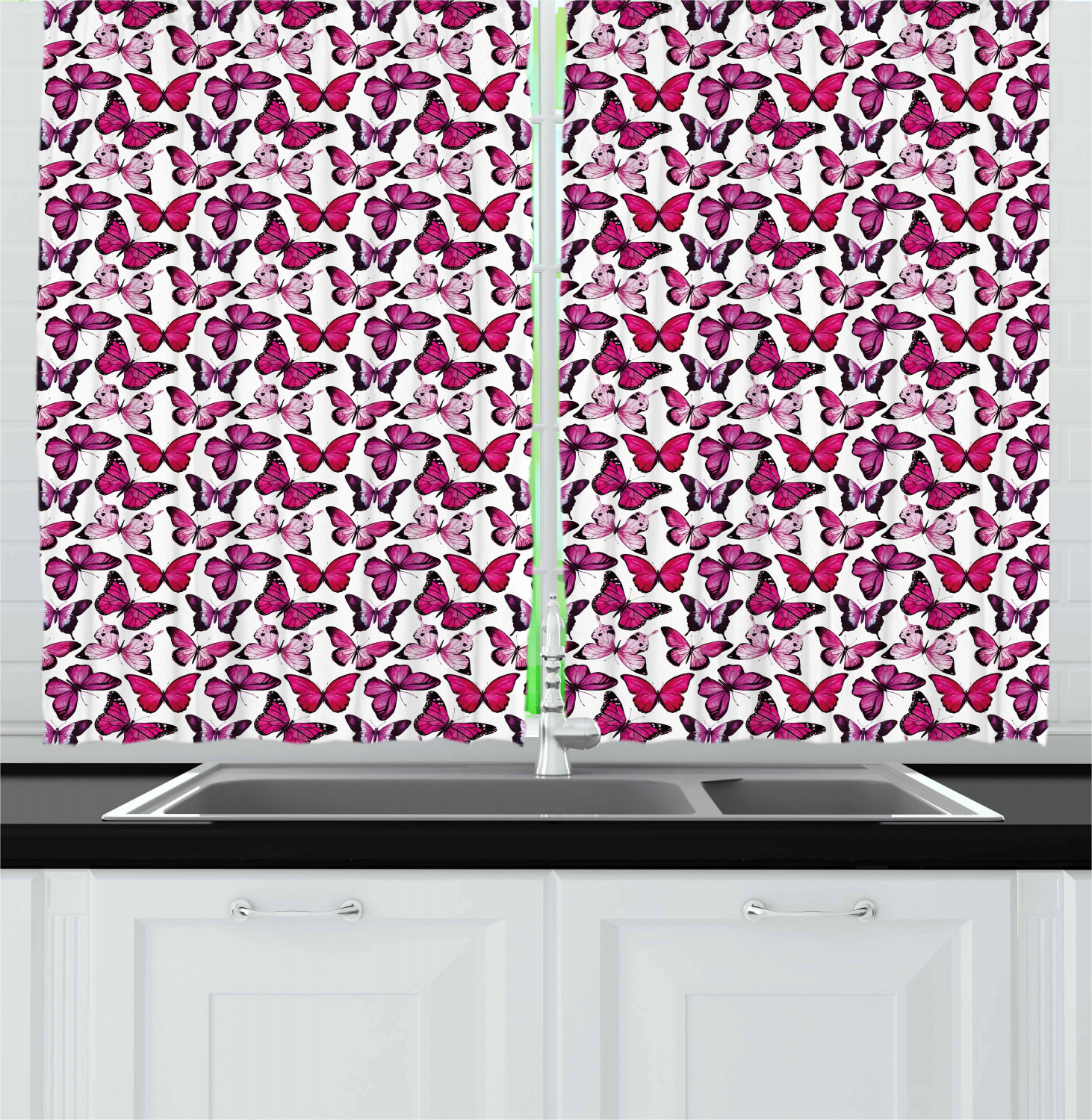 """Butterfly Kitchen Curtains: Butterfly Kitchen Curtains 2 Panel Set Window Drapes 55"""" X"""