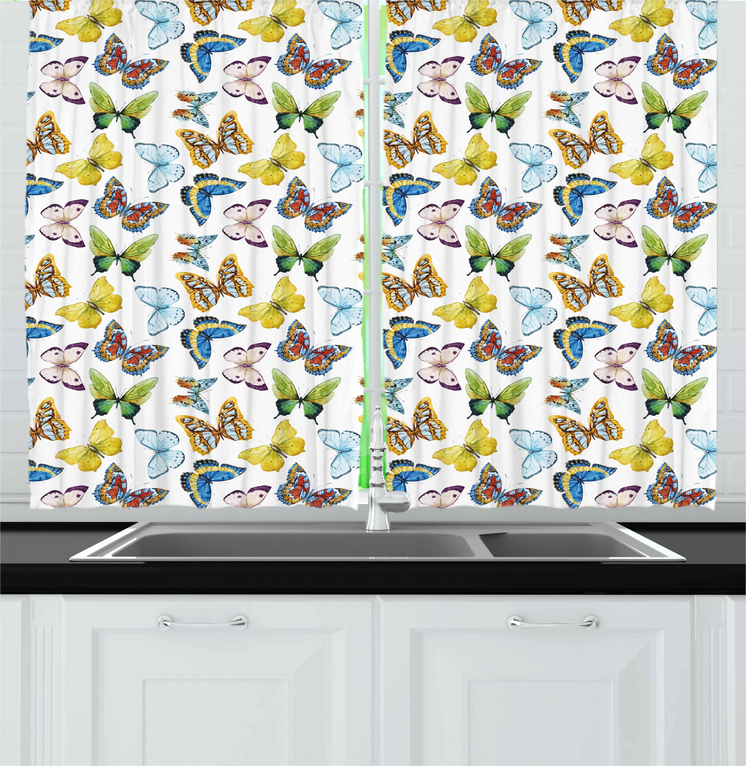 Details about Butterfly Kitchen Curtains 2 Panel Set Window Drapes 55\