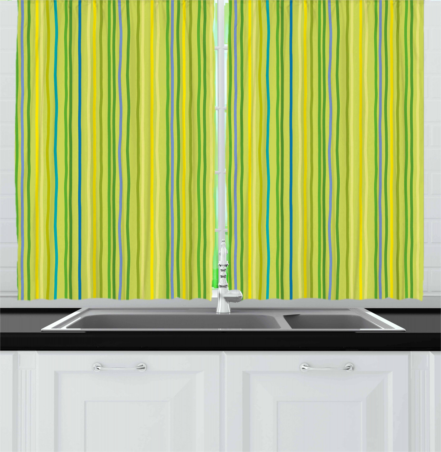 Lime Green Kitchen Curtains: Lime Green Kitchen Curtains 2 Panel Set Window Drapes 55