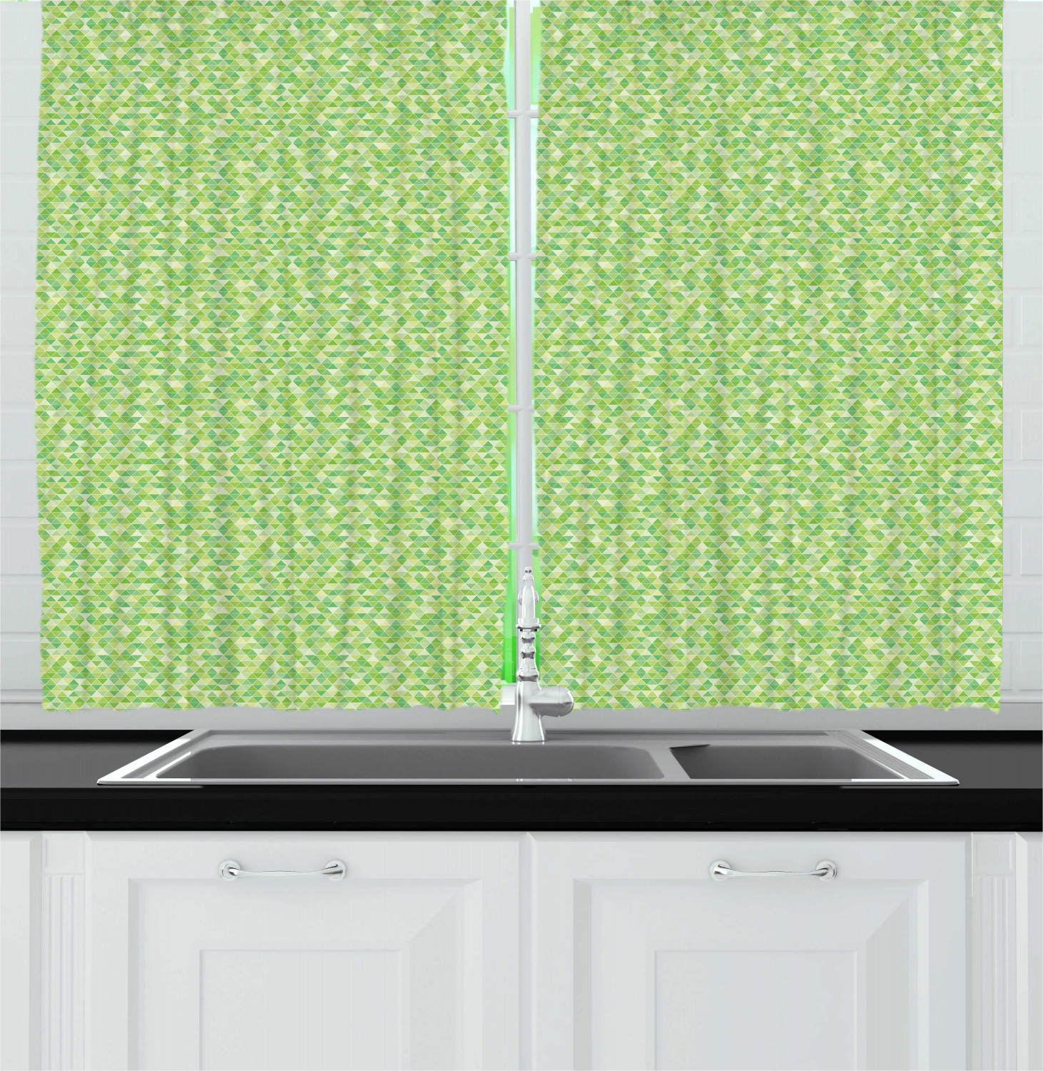 Details about Lime Green Kitchen Curtains 2 Panel Set Window Drapes 55\