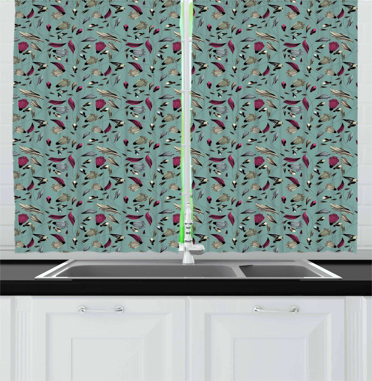 "Vintage Kitchen Curtains 2 Panel Set Window Drapes 55"" X"