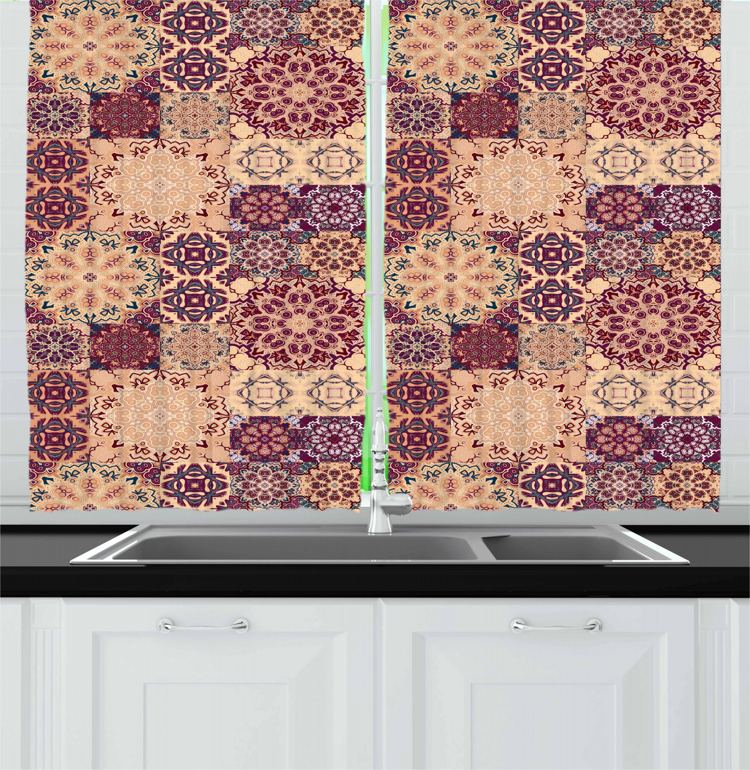 Eastern Moroccan Kitchen Curtains 2 Panel Set Window