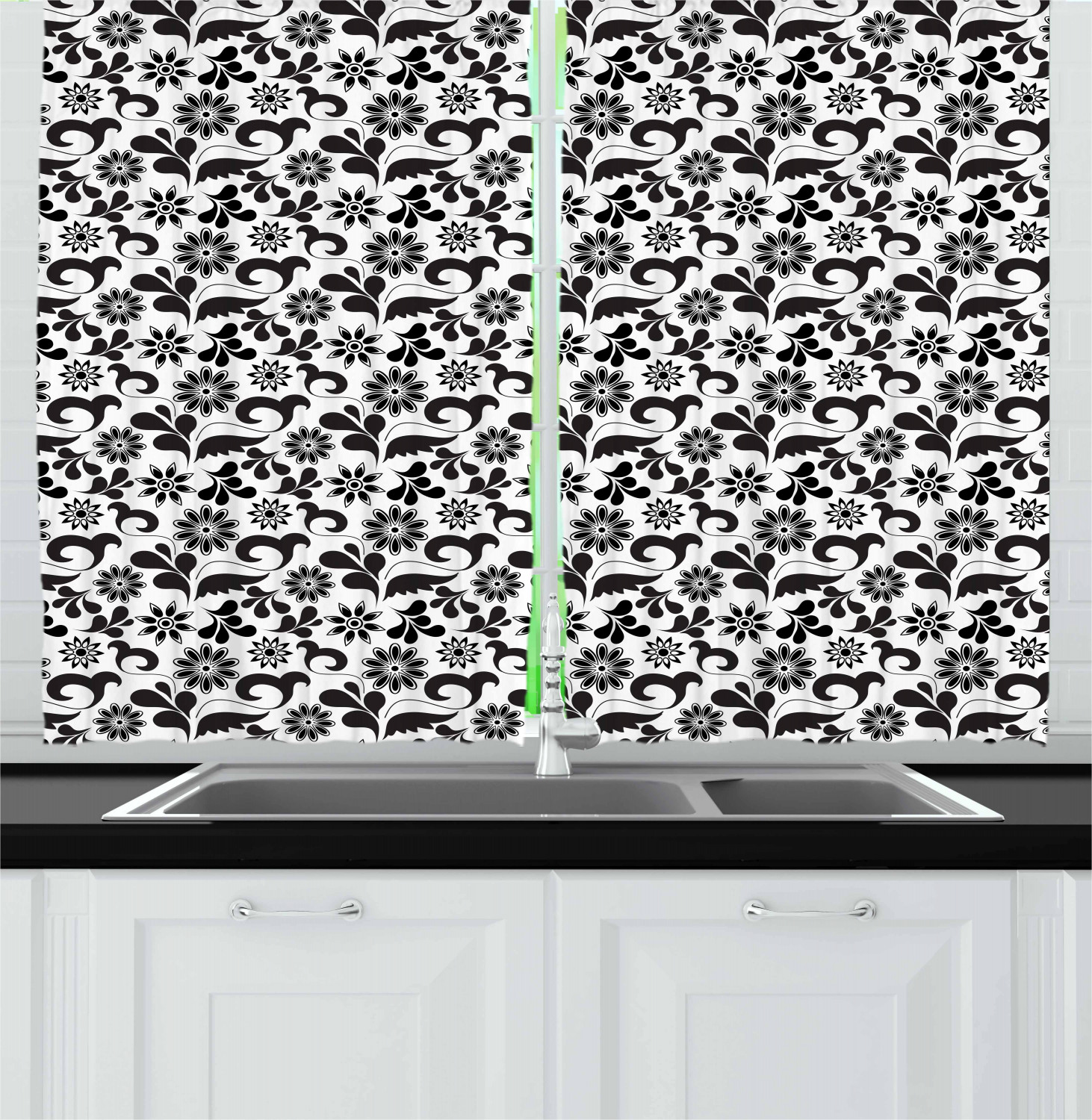Black And White Kitchen Curtains: Black And White Kitchen Curtains 2 Panel Set Window Drapes