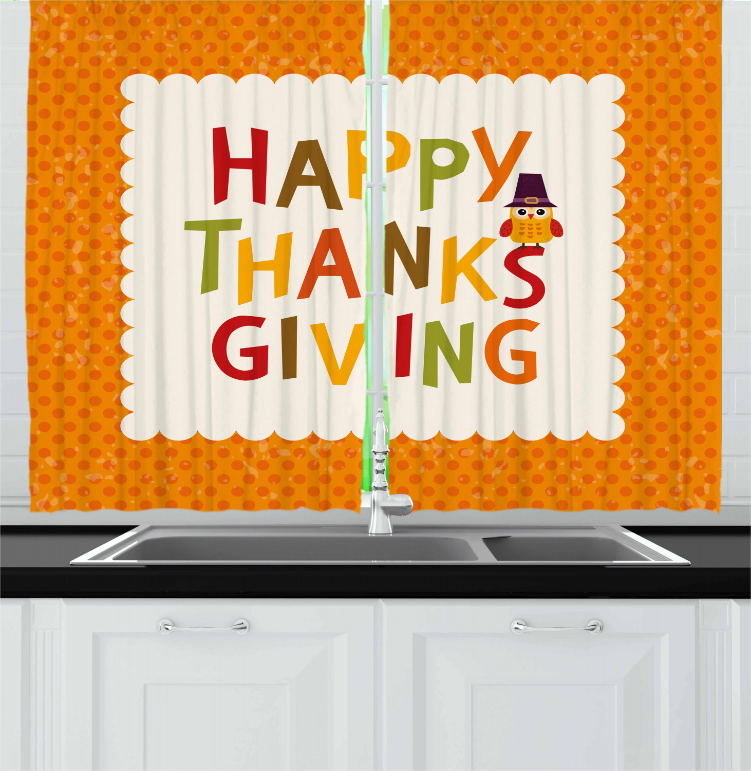 Thanksgiving Curtains 2 Panel Set for Decor 5 Sizes Available Window Drapes