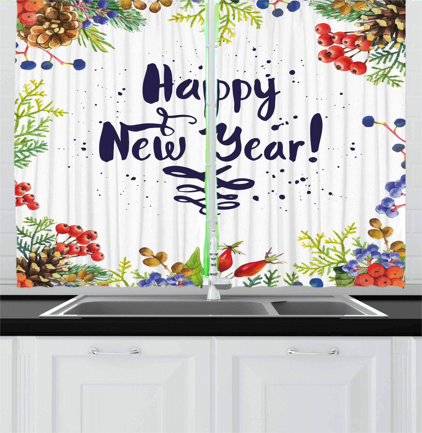 New Year Kitchen Curtains 2 Panel Set Home Decor Drapes 55 ...