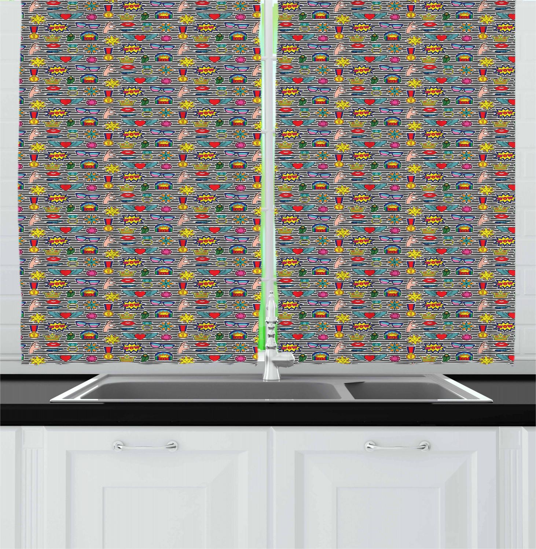 Ornamental Retro Kitchen Curtains 2 Panel Set Window