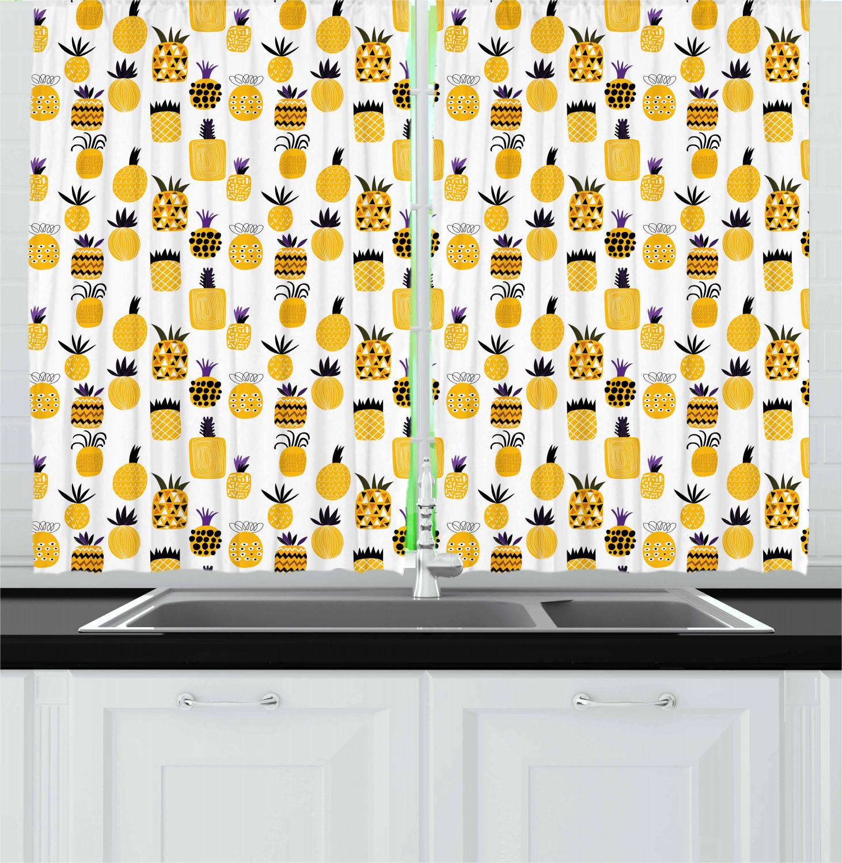 Yellow Kitchen Curtains 2 Panel Set Home Decor Window Drapes 55 X 39 Ambesonne Ebay
