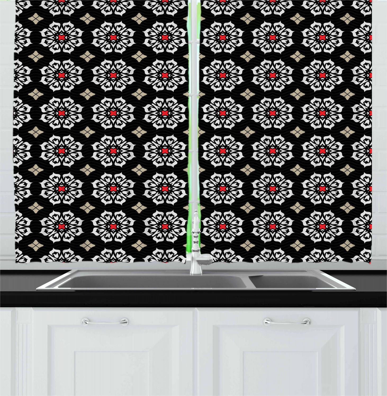 Asian-Oriental-Kitchen-Curtains-2-Panel-Set-Window-Drapes-55-034-X-39-034 thumbnail 22