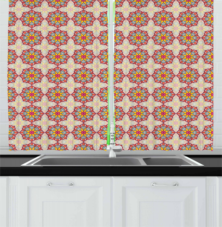 Asian-Oriental-Kitchen-Curtains-2-Panel-Set-Window-Drapes-55-034-X-39-034 thumbnail 23