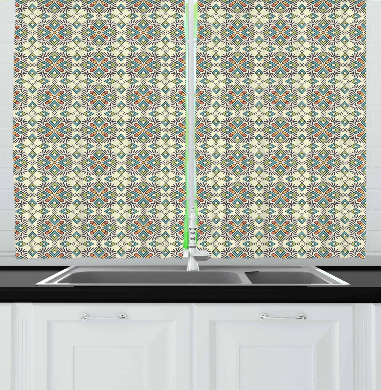 Asian-Oriental-Kitchen-Curtains-2-Panel-Set-Window-Drapes-55-034-X-39-034 thumbnail 26