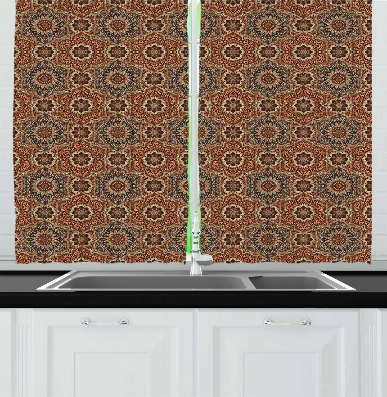 Asian-Oriental-Kitchen-Curtains-2-Panel-Set-Window-Drapes-55-034-X-39-034 thumbnail 6