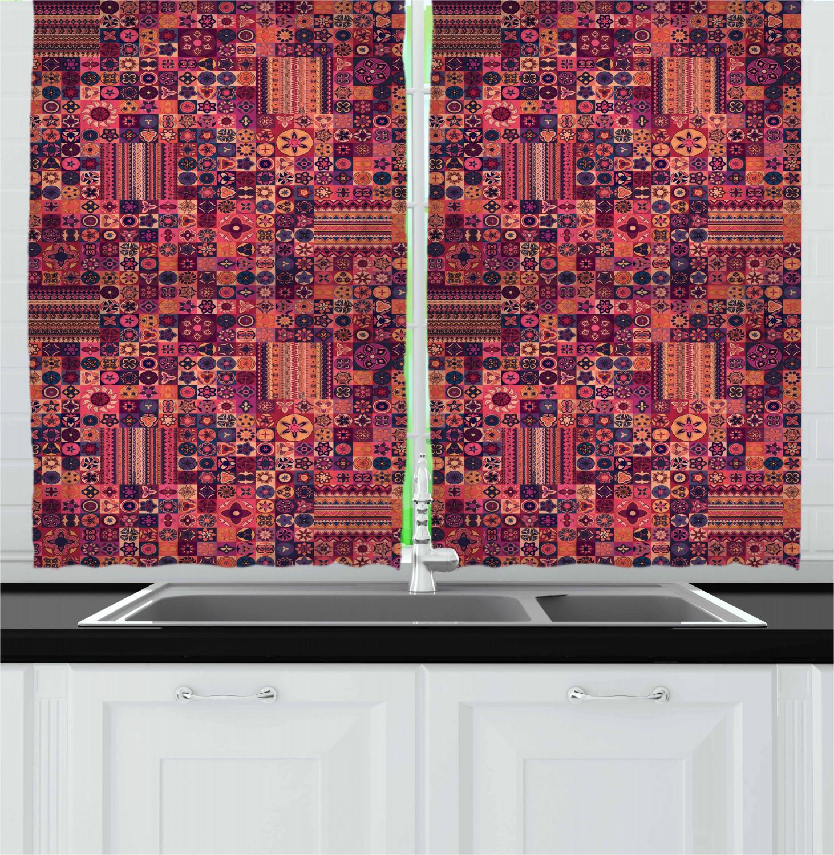 Asian-Oriental-Kitchen-Curtains-2-Panel-Set-Window-Drapes-55-034-X-39-034 thumbnail 13