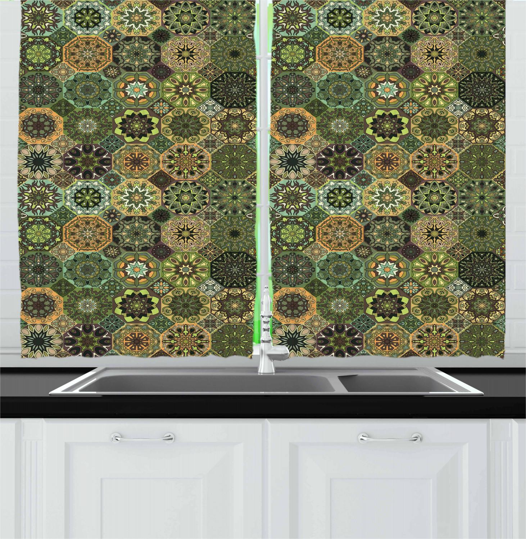 Asian-Oriental-Kitchen-Curtains-2-Panel-Set-Window-Drapes-55-034-X-39-034 thumbnail 17