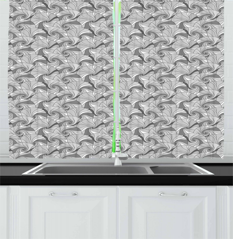 "black and grey kitchen curtains 2 panel set window drapes 55"" x 39"" ambesonne | ebay"