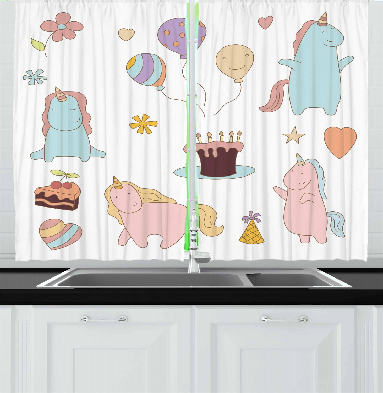 Unicorn Kitchen Curtains 2 Panel Set Decor Window Drapes 55 X 39 Ambesonne Ebay