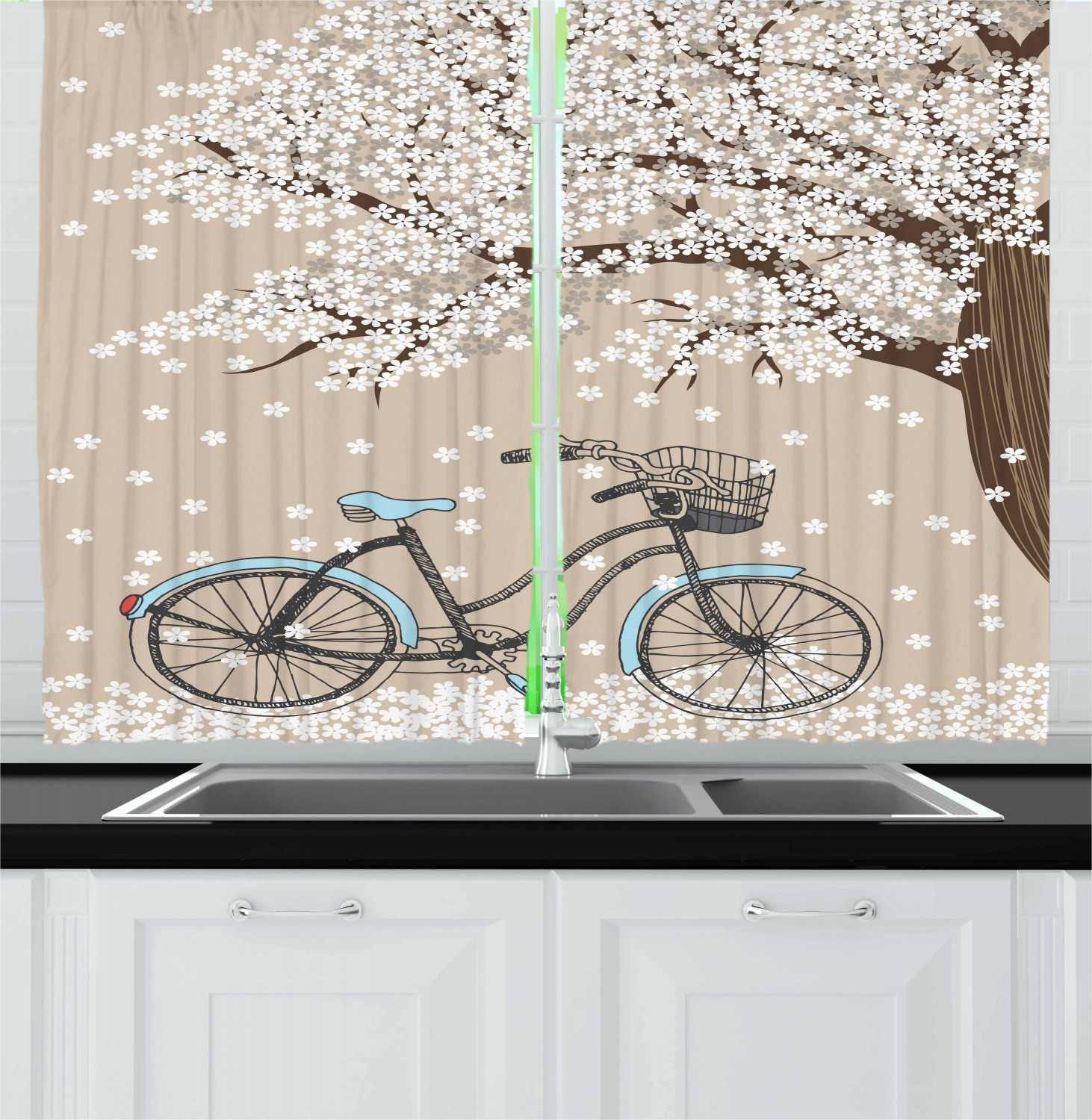 Bicycle Kitchen Curtains 2 Panel Set Home Decor Window