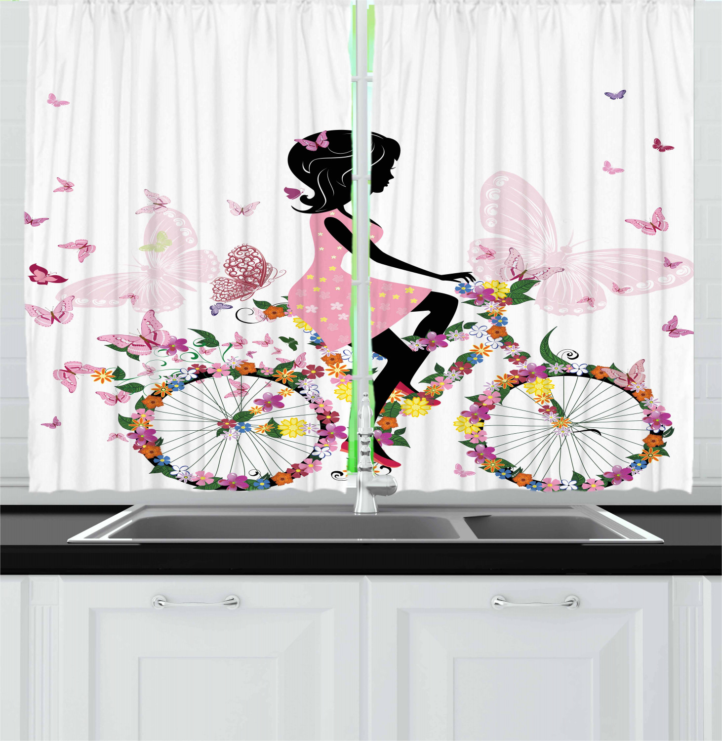 Bicycle Home Decor: Bicycle Kitchen Curtains 2 Panel Set Home Decor Window