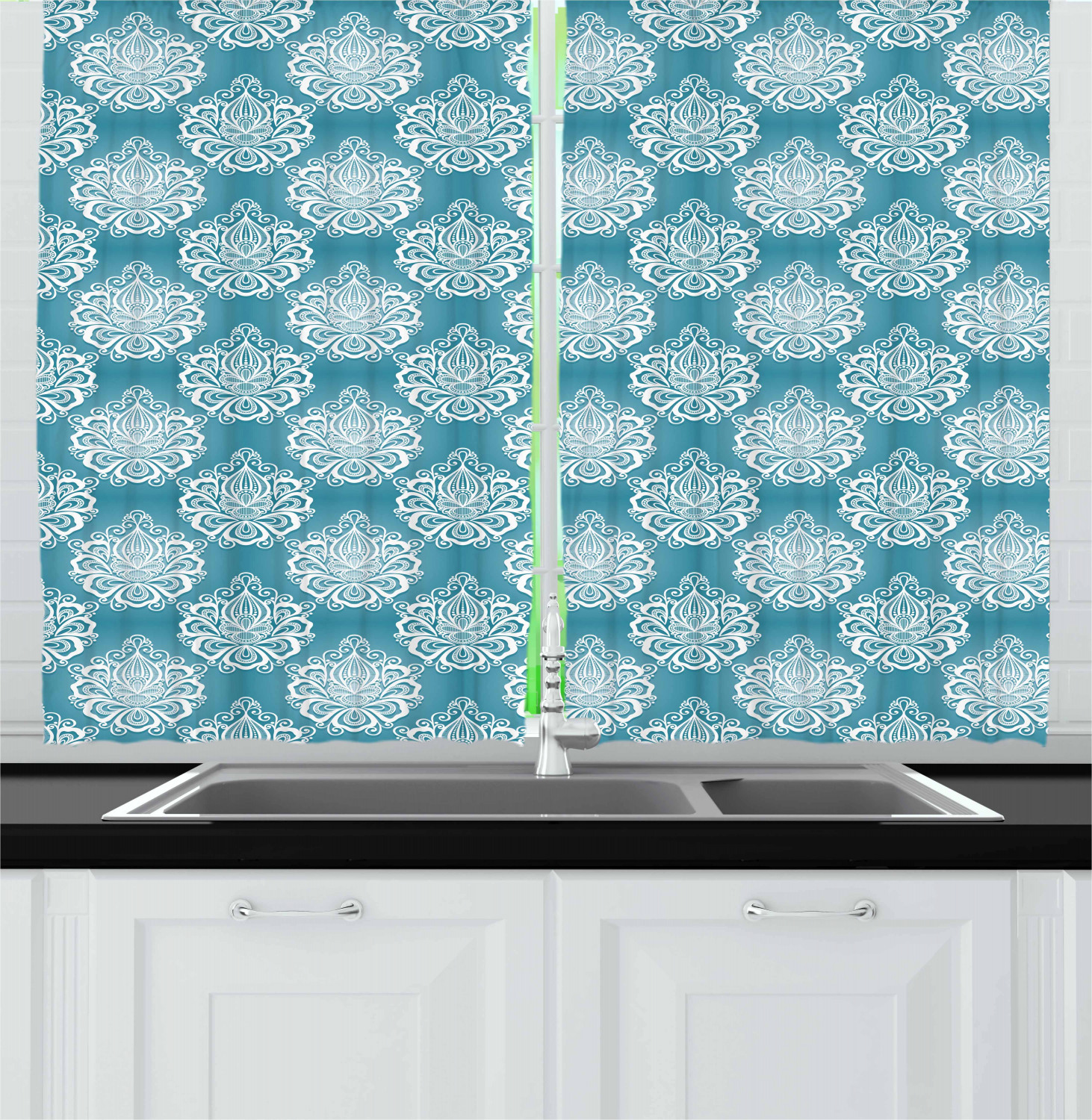 """Damask Kitchen Curtains 2 Panel Home Window Drapes 55"""" X"""