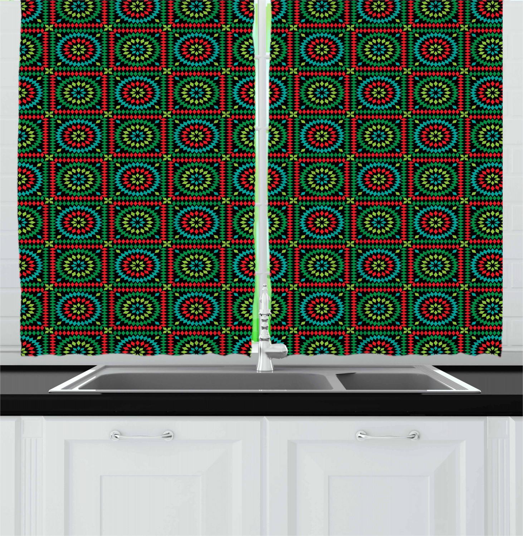 Afghan Kitchen Curtains 2 Panel Set Window Drapes 55 X 39 Ambesonne Ebay
