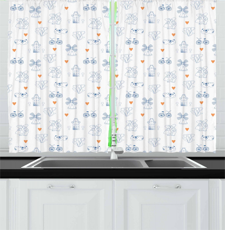 Dutch Kitchen Curtains 2 Panel Set Window Drapes 55 X 39 Ambesonne Ebay