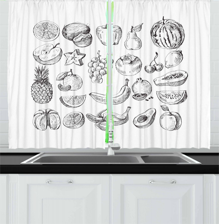 Fruit kitchen curtains 2 panel set home decor window - Kitchen curtains with fruit design ...