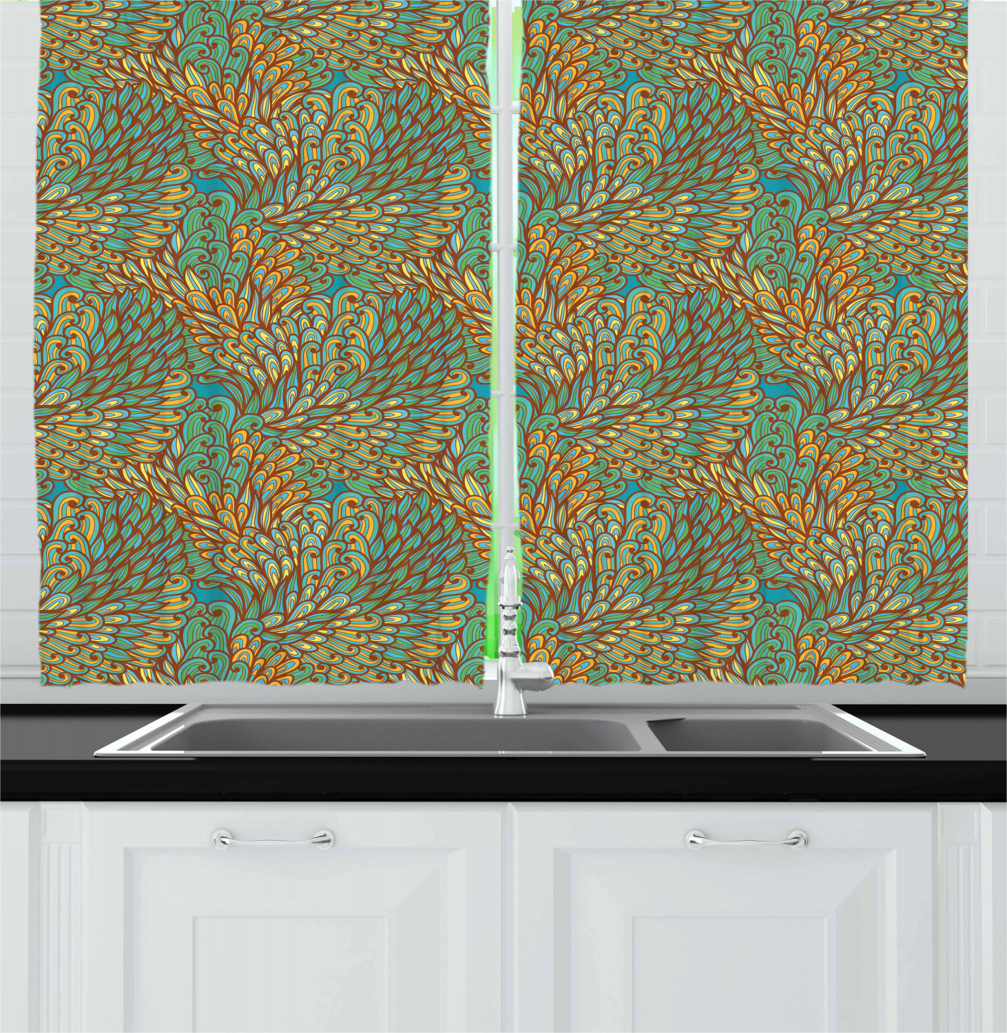 Blue And Yellow Kitchen Curtains: Blue And Yellow Kitchen Curtains 2 Panel Set Window Drapes