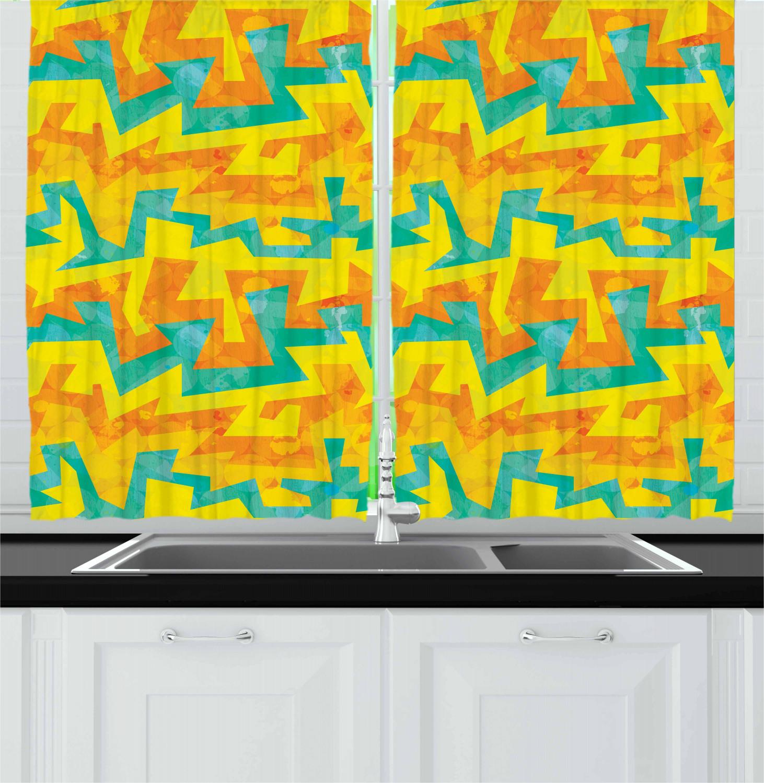Urban Graffiti Kitchen Curtains 2 Panel Set Window Drapes 55 X 39 Ambesonne Ebay