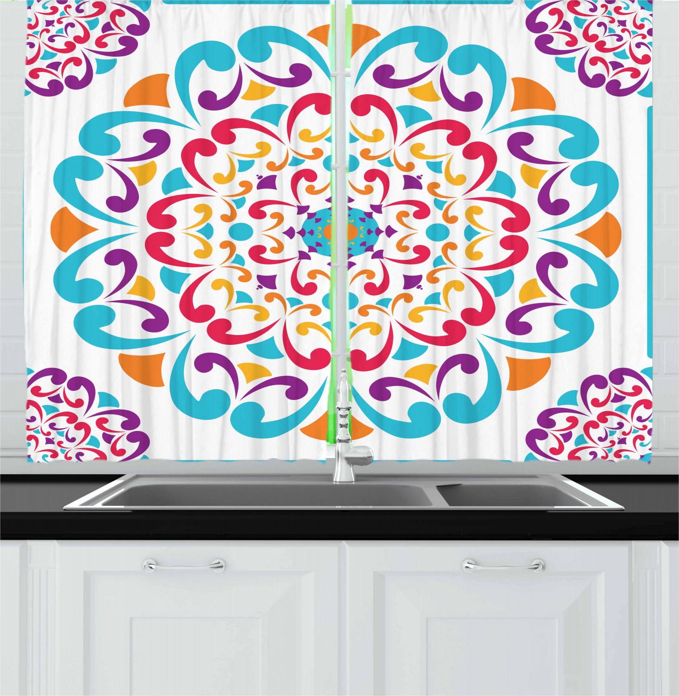 Rainbow Kitchen Decor: Rainbow Mandala Kitchen Curtains 2 Panel Set Window Drapes