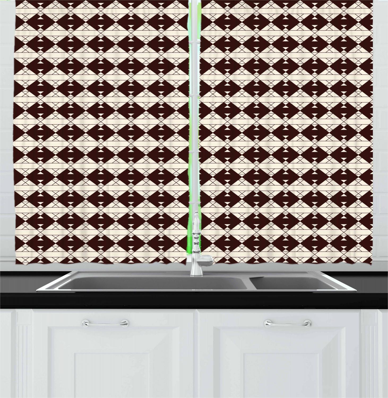Brown Tones Kitchen Curtains 2 Panel Set Window Drapes 55