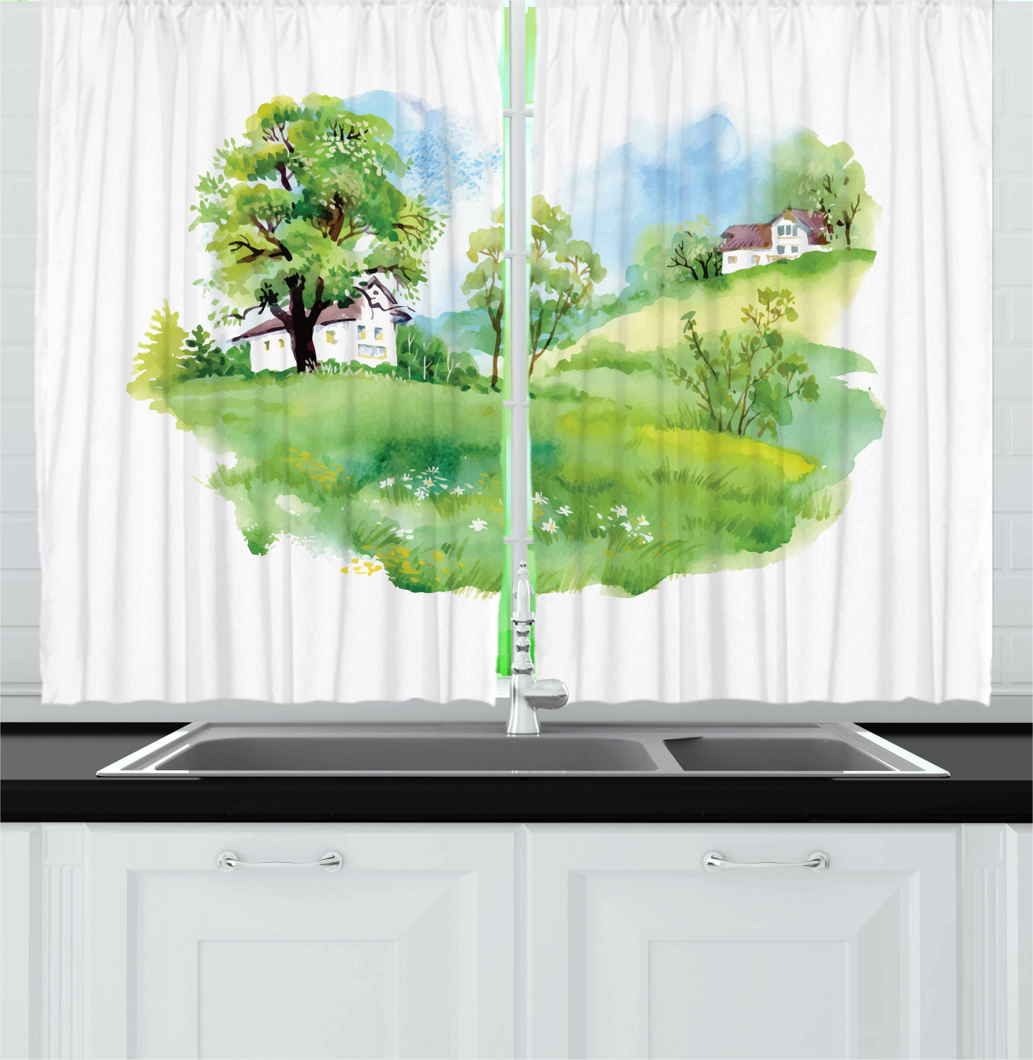 Fabric For Kitchen Curtain: Urban Fabric Kitchen Curtains 2 Panel Set Window Drapes 55