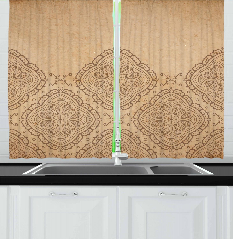 Brown Mandala Kitchen Curtains 2 Panel Set Window Drapes