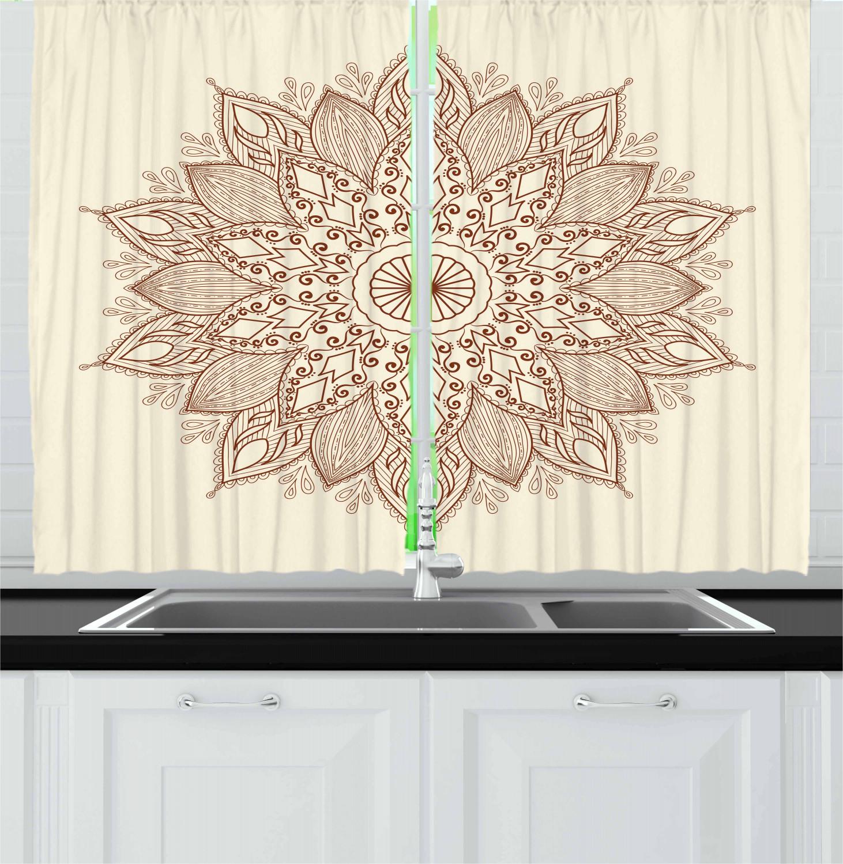 "brown mandala kitchen curtains 2 panel set window drapes 55"" x 39"" ambesonne | ebay"