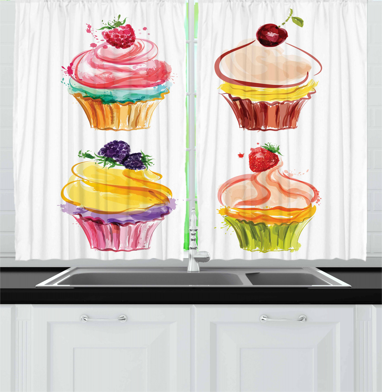 Cupcake Kitchen Curtains 2 Panel Set Window Drapes 55 Quot X