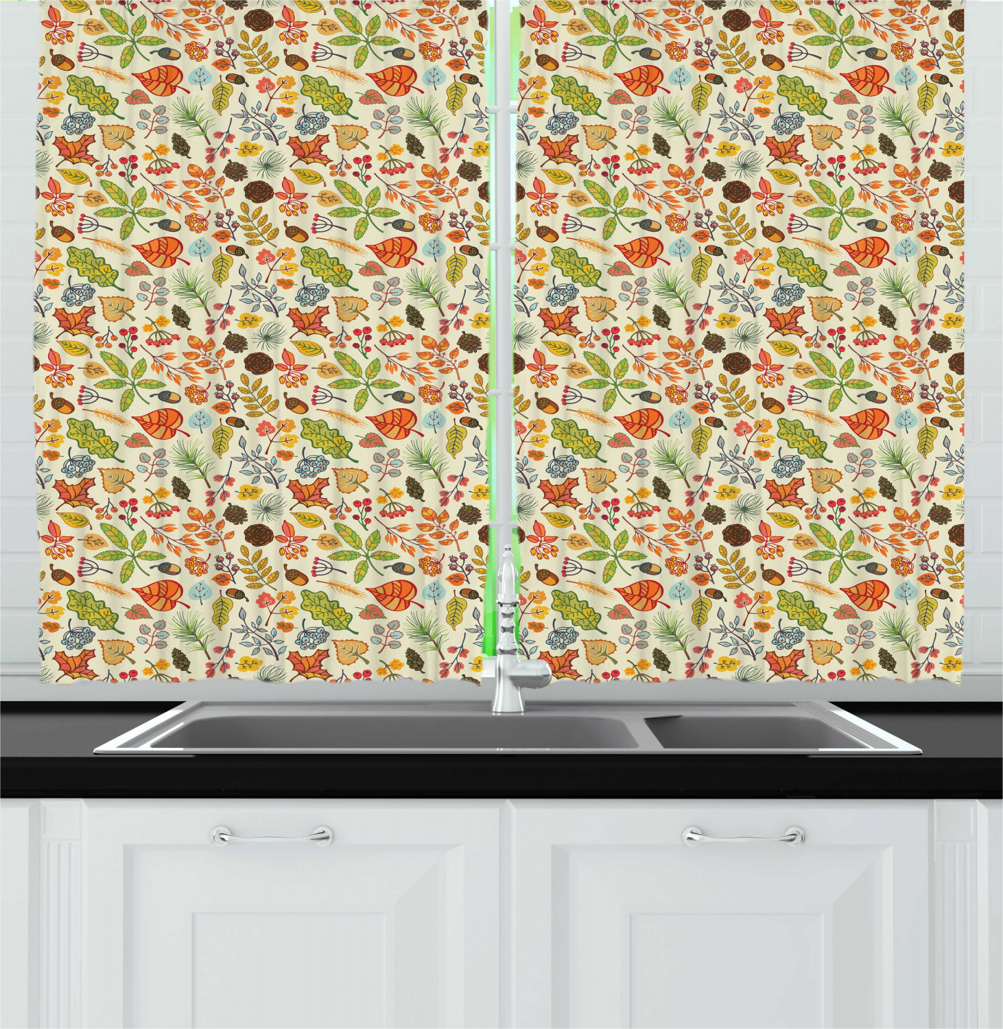 "Pine Cone Kitchen Curtains 2 Panel Set Window Drapes 55"" X ..."