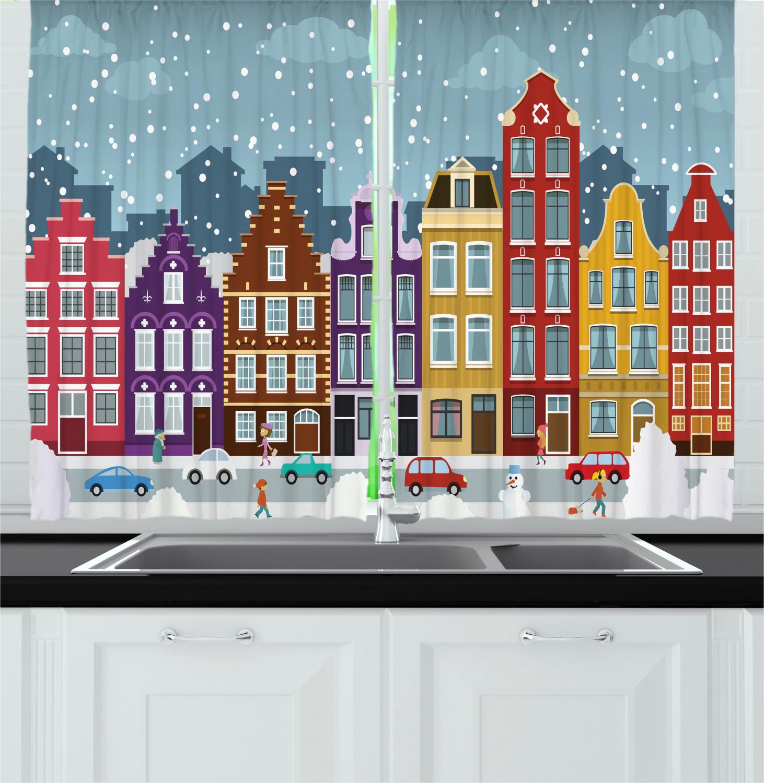 Amsterdam Kitchen Curtains 2 Panel Set Window Drapes 55 X 39 Ebay