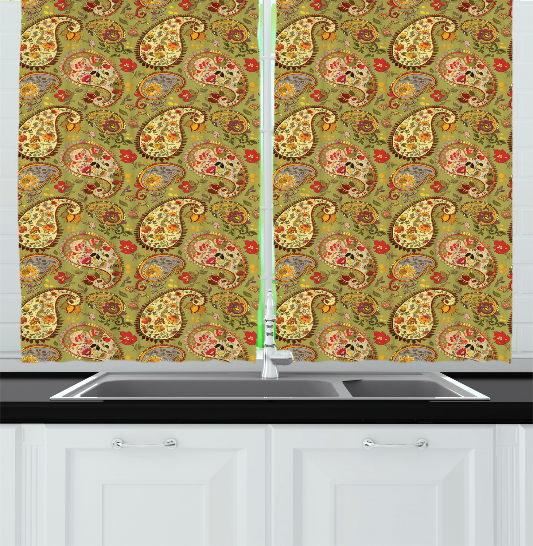 paisley pattern kitchen curtains 2 panel set