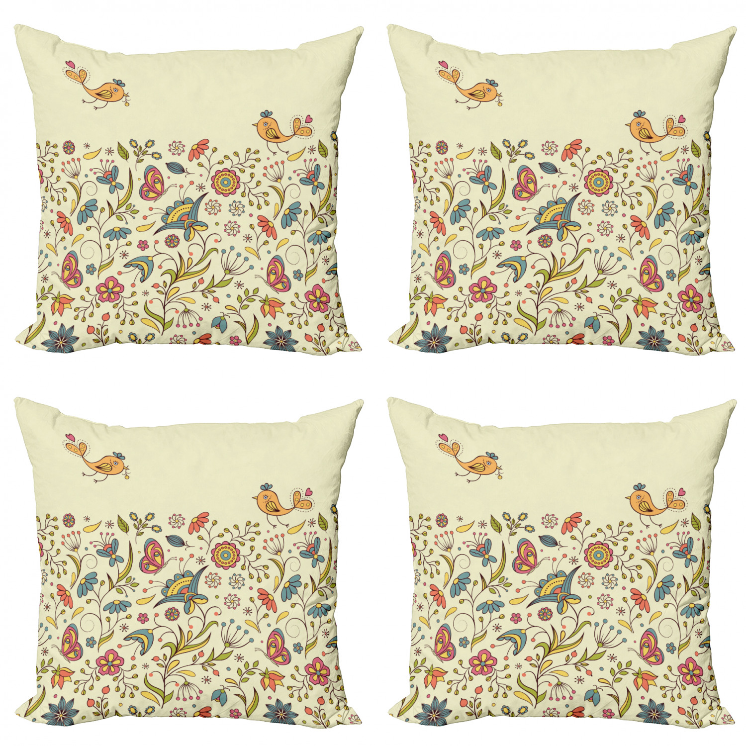 Ambesonne-Floral-Drawings-Cushion-Cover-Set-of-4-for-Couch-and-Bed-in-4-Sizes thumbnail 30