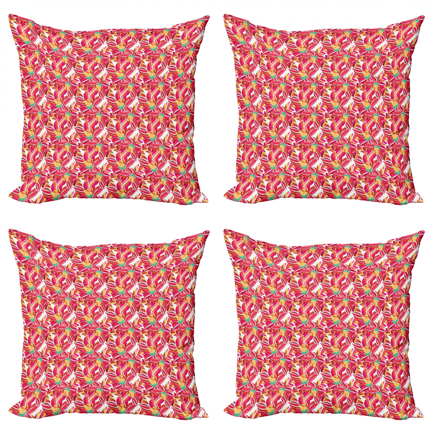 Ambesonne-Floral-Drawings-Cushion-Cover-Set-of-4-for-Couch-and-Bed-in-4-Sizes thumbnail 12