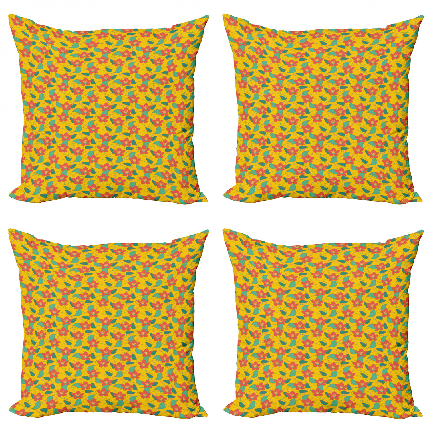 Ambesonne-Floral-Drawings-Cushion-Cover-Set-of-4-for-Couch-and-Bed-in-4-Sizes thumbnail 50