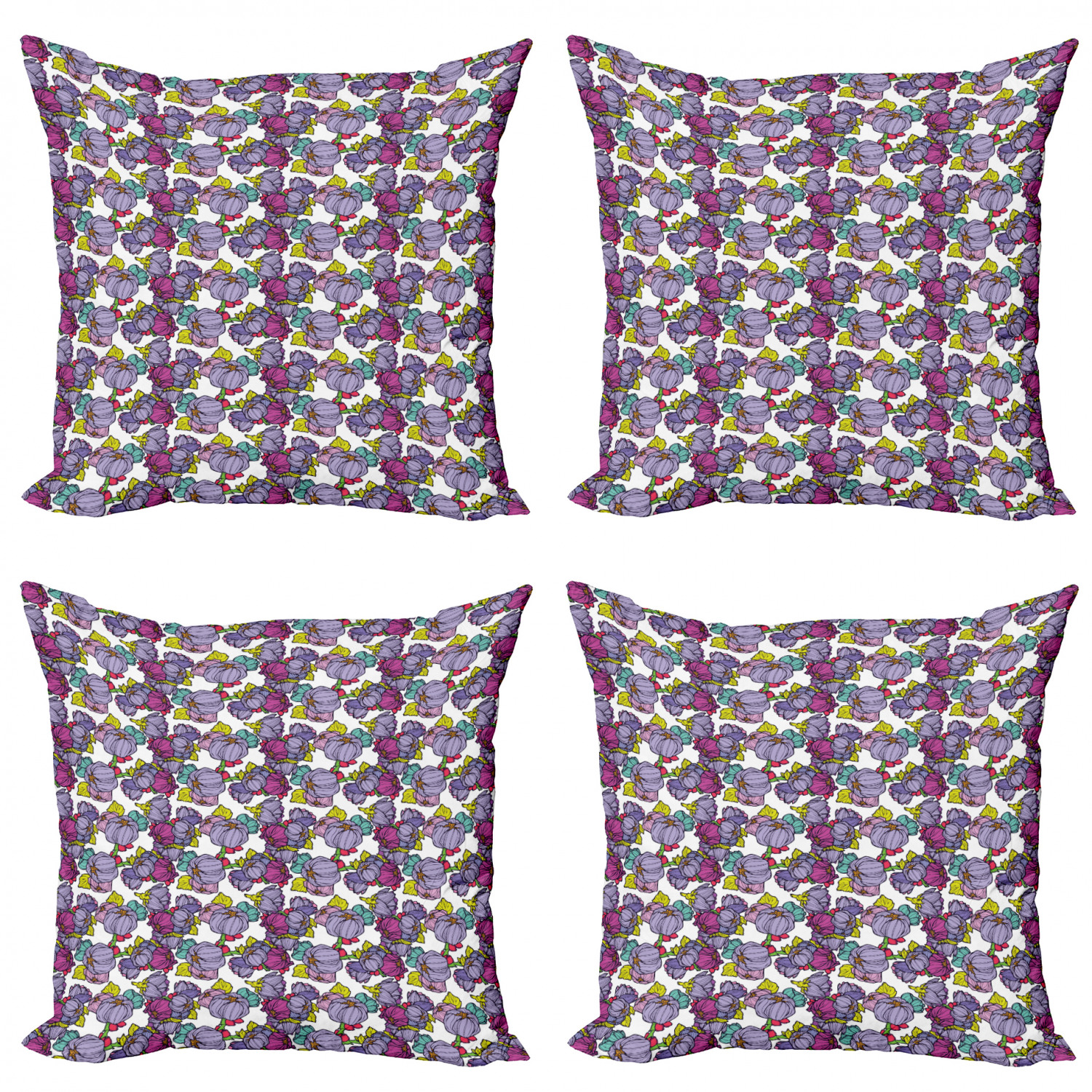 Ambesonne-Floral-Drawings-Cushion-Cover-Set-of-4-for-Couch-and-Bed-in-4-Sizes thumbnail 61