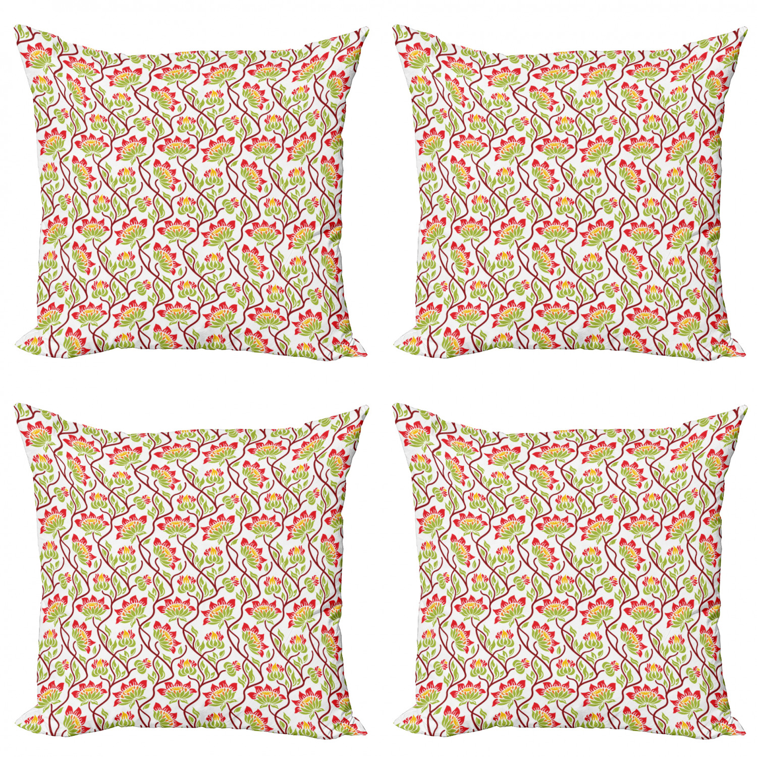 Ambesonne-Floral-Drawings-Cushion-Cover-Set-of-4-for-Couch-and-Bed-in-4-Sizes thumbnail 4