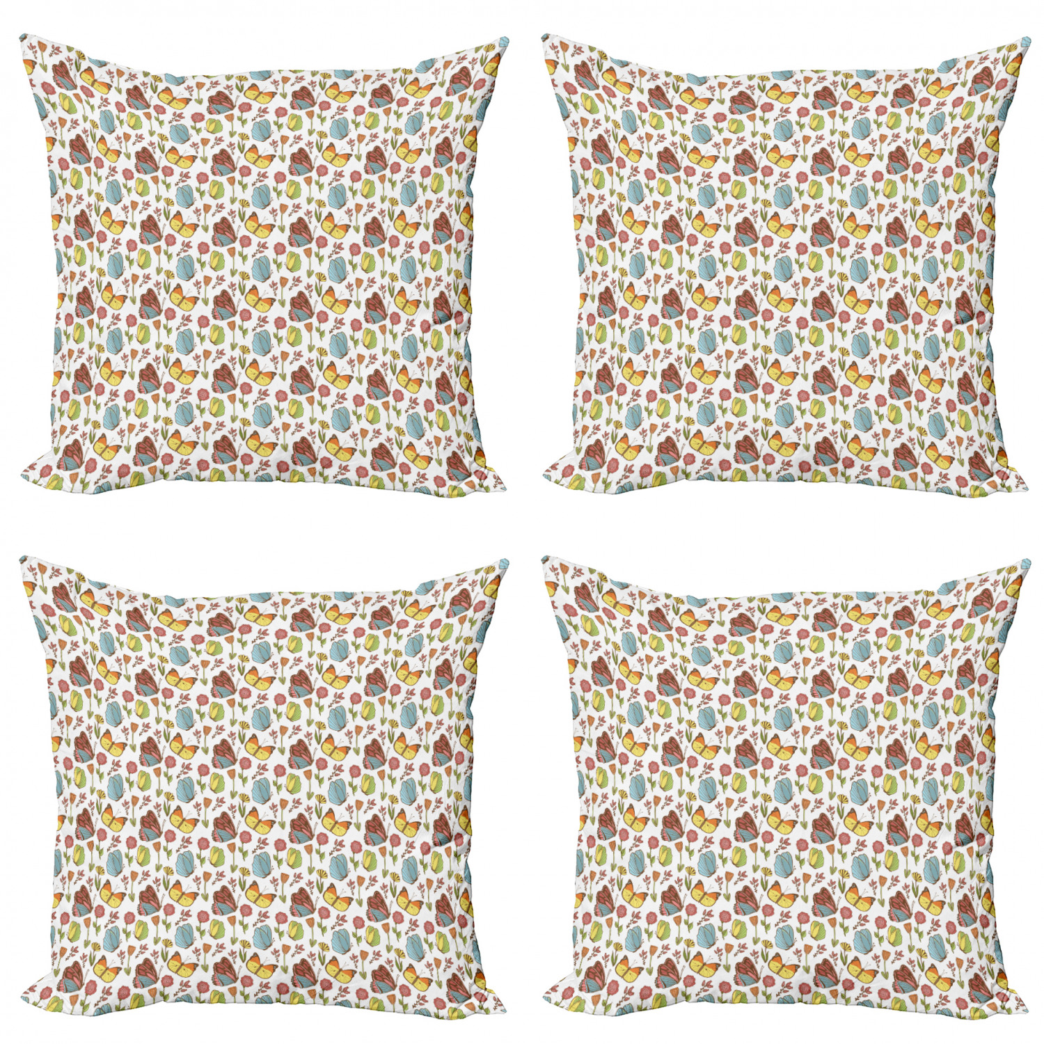 Ambesonne-Floral-Drawings-Cushion-Cover-Set-of-4-for-Couch-and-Bed-in-4-Sizes thumbnail 54