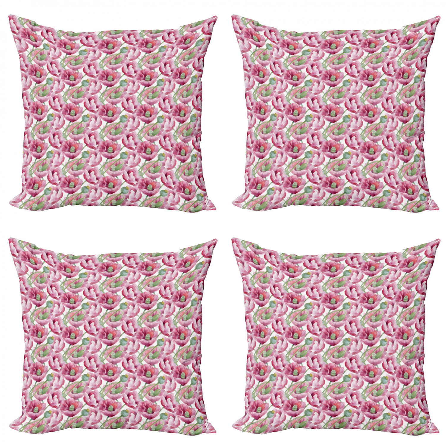 Ambesonne-Floral-Drawings-Cushion-Cover-Set-of-4-for-Couch-and-Bed-in-4-Sizes thumbnail 19
