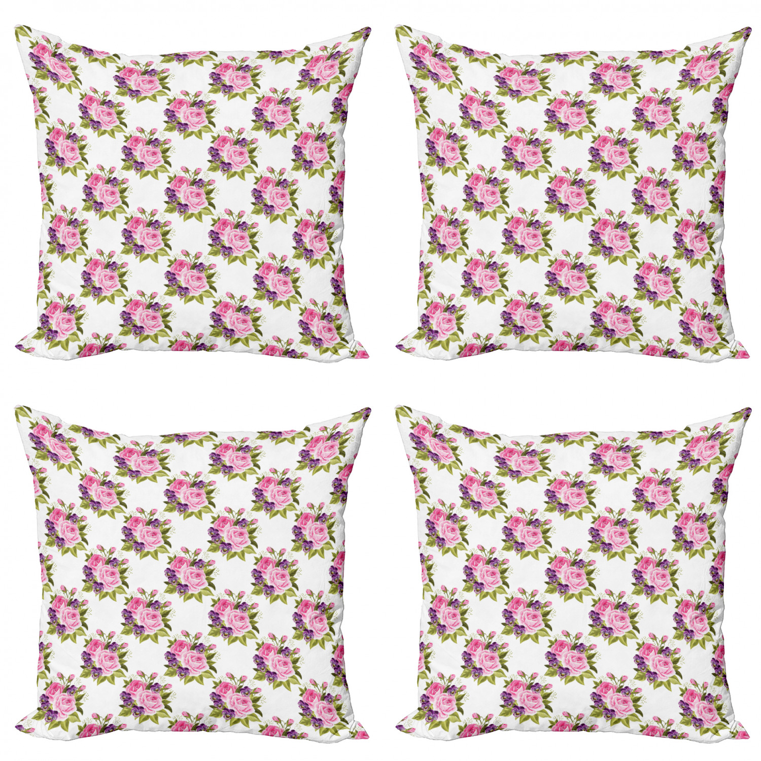 Ambesonne-Floral-Drawings-Cushion-Cover-Set-of-4-for-Couch-and-Bed-in-4-Sizes thumbnail 26