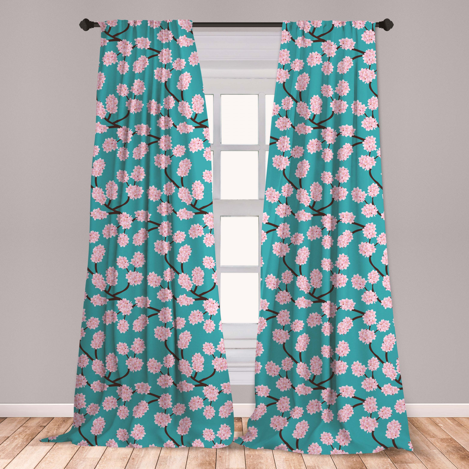 Cherry Microfiber Curtains 2 Panel Set Living Room Bedroom in 3 Sizes